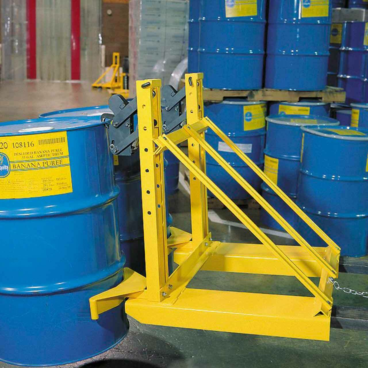 Double Fork Mounted Drum Lifter In Action