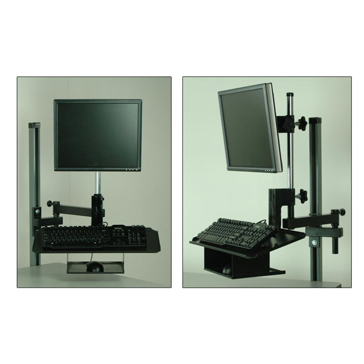 Overhead Monitor Mount With Keyboard Tray
