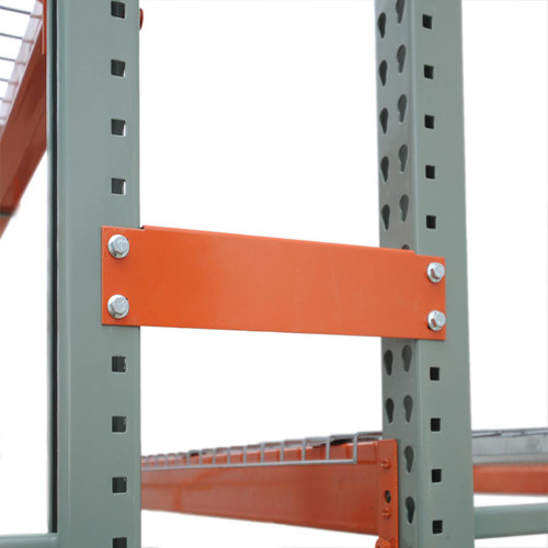 Row spacers join pallet racks together