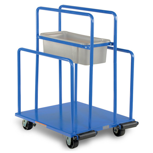Heavy duty lumber and panel cart with basket