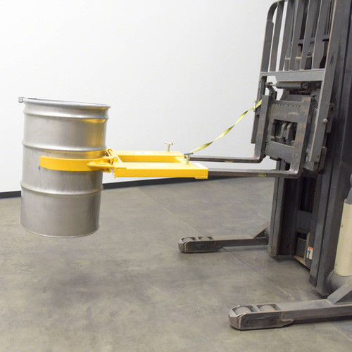 Attaches to the forklift tines to make easy work of lifting 55 gallon drums