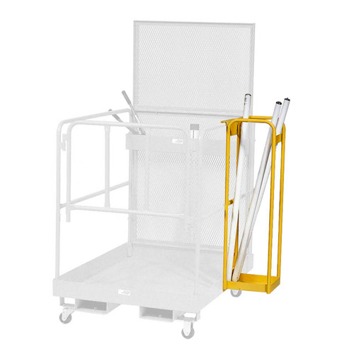 This tube and bulb caddy attaches to a lift platform to make transporting easier