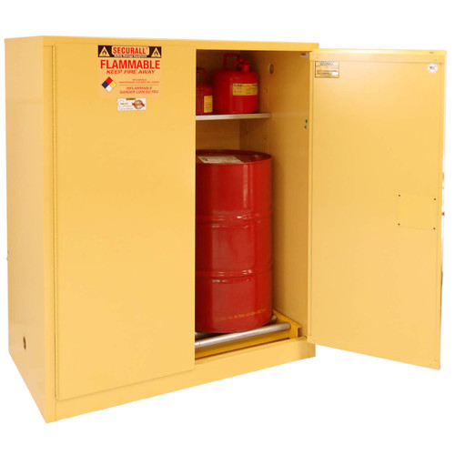 Flammable drum storage with manual door