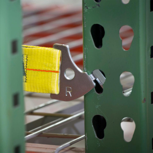 Rack safety net hooks securely to the teardrop pallet racking