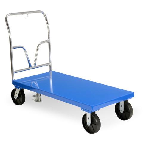 Solid, smooth steel deck platform cart