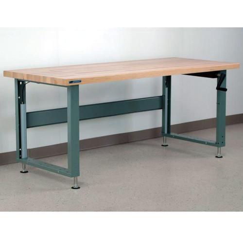 Hand-Crank Adjustable Height Workbenche Maple Top
