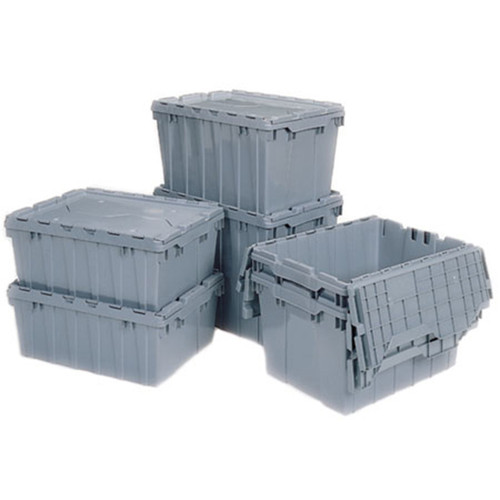 Akro-Mils Attached Lid Plastic Totes