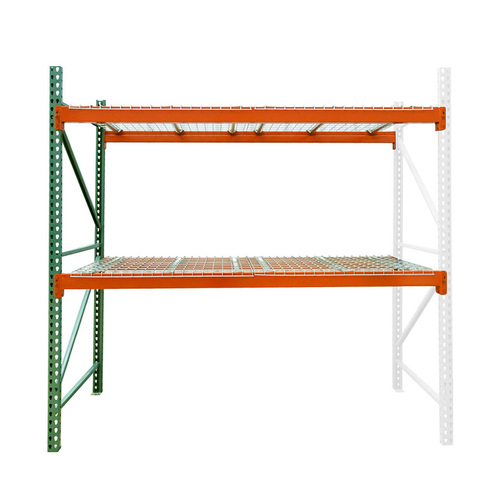 "24"" deep teardrop pallet rack adder kit with wire deck"