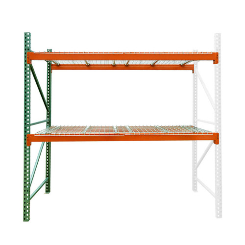 "48"" deep teardrop pallet rack adder kit with wire deck"