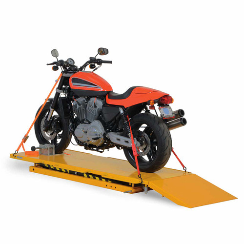 Manual hydraulic motorcycle lift with motorcycle
