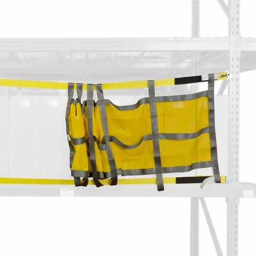 Pallet racking sliding safety nets  stretch the entire pallet rack bay