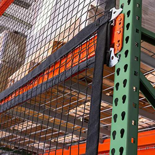 Modular safety netting can be used in teardrop pallet racking