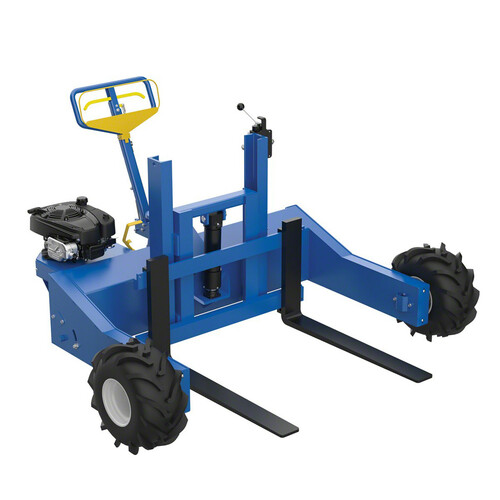 This Vestil gas-powered all-terrain pallet jack has a capacity of 4,000 lb.