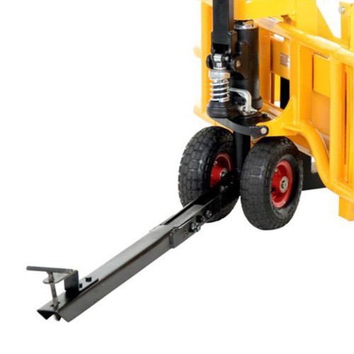 The optional manual all terrain pallet jack tow package accessory attaches to small utility vehicles for pulling