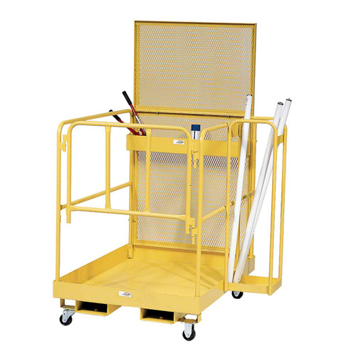 Forklift maintenance platform with side caddy and casters