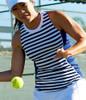 CLEARANCE JoFit Ladies Cut Away Sleeveless Tennis Tank Tops - Bali/Kona (Blue Depth)