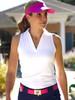 JoFit Ladies Cutaway Tech Sleeveless Tennis Polo Shirts - Cosmopolitan/Kona (White)