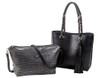 Sydney Love Ladies Reversible Tote Bag with Inner Pouch - Steel & Black Crocodile