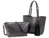Sydney Love Ladies Reversible Tote Bag with Inner Pouch - Steel & Black Crocodile