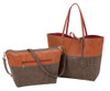 Sydney Love Ladies Reversible Tote Bag with Inner Pouch - Cinnamon, Chocolate & Cranberry