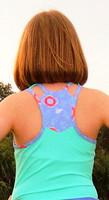 Turtles & Tees Junior Girls Kara Racerback Tennis Shirts - Seafoam/All Knotted Up