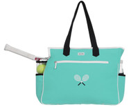 Ame & Lulu Ladies Kensington Crossed Racquet Tennis Court Bags - Aqua/Black