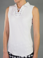 JoFit Ladies & Plus Size Lace-Up Sleeveless Tennis Shirts - Daiquiri (White)
