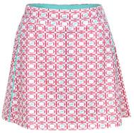 Turtles & Tees Junior Girls Tara Knit Pull On Tennis Skorts - Salmon Tee's Squared Print