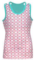 Turtles & Tees Junior Girls Kara Racerback Tennis Shirts - Salmon Tee's Squared Print