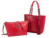 Sydney Love Ladies Reversible Tote Bag with Inner Pouch - Red Crocodile