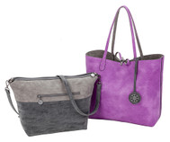 Sydney Love Ladies Reversible Tote Bag with Inner Pouch - Graphite, Coal & Orchid