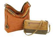 Sydney Love Ladies Reversible Hobo Bag with Inner Pouch - Camel, Olive & Terracotta