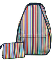 40 Love Courture Ladies Elizabeth Tennis Backpacks - Yuppie Stripe with Navy Lining