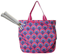 All For Color Ladies Tennis Tote Bags - Bali Blooms (Pink & Navy)