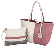 Sydney Love Ladies 4 Panel Reversible Medium Tote Bag - Creme, Pink & Silver