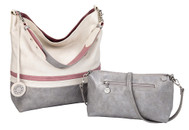 Sydney Love Ladies Reversible Hobo Bag with Inner Pouch - Creme, Pink & Silver