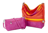 Sydney Love Ladies Reversible Hobo Bag with Inner Pouch - Orange, Yellow & Fuchsia