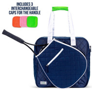 Ame & Lulu Ladies Sweet Shot Tennis Tote Multi-Cap - Navy and White