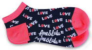 Ame & Lulu Ladies Meet You Match Socks - Pink Navy Love