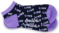 Ame & Lulu Ladies Meet You Match Socks - Purple Navy Love