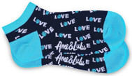 Ame & Lulu Ladies Meet Your Match Socks - Turquoise Navy Love