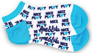 Ame & Lulu Ladies Meet Your Match Socks - Turquoise White Nice Play