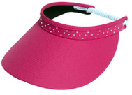 Glove It Ladies Bling Coil Back Tennis Visors (w/ Twist Cord) - Pink Bling Coil