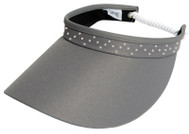 Glove It Ladies Bling Coil Back Tennis Visors (w/ Twist Cord) - Grey Bling Coil