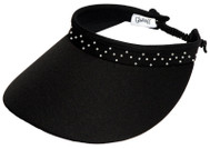 Glove It Ladies Bling Coil Back Tennis Visors (w/ Twist Cord) - Black Bling Coil