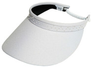 Glove It Ladies Bling Coil Back Tennis Visors (w/ Twist Cord) - White Bling Coil