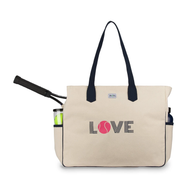 Ame & Lulu Ladies Love All Tennis Court Bags - Pink Love Natural