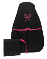 40 Love Courture Ladies Sophi Tennis Backpacks - Black with Embroidered Racquets Pink Lining