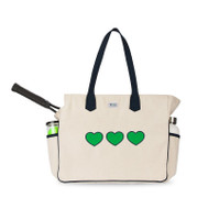 Ame & Lulu Ladies Love All Tennis Court Bags - Green Hearts