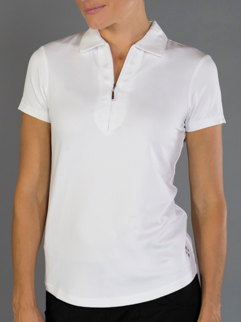 JoFit Ladies & Plus Size Jacquard Performance Polo Tennis Shirts - Bali (White)
